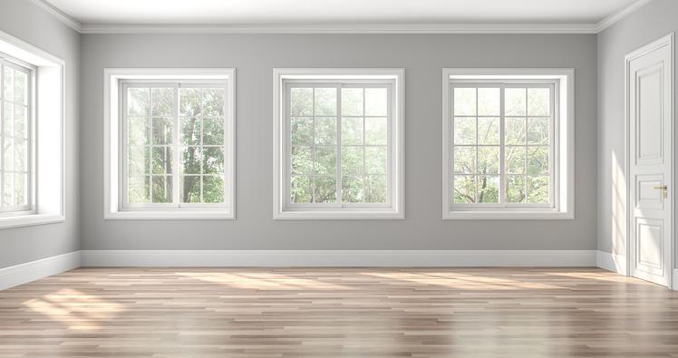 Empty room with wooden floor.